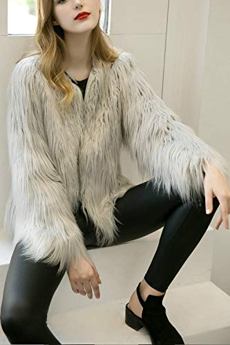 Unico Monocromo Invernali Grey Di Moda Manica Pelliccia Donna Grazioso Stlie Giubotto Cappotto Lanoso Elegante Giaccone Imbottita Party Lunga Giacca 4Z0qn4