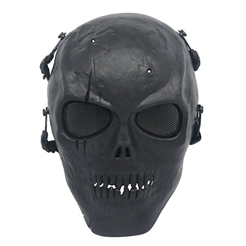 Ecloud Shop Black Army Skull Skeleton Airsoft Paintball BB Gun Game Face Mask ()