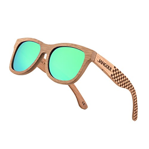 fddd1db54d JANGOUL Polarized Sunglasses Carbonized Bamboo Frame For Men Women with  Gift Box (Carbonized Bamboo Frame