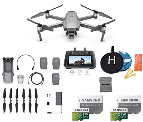 - DJI Mavic 2 Pro with DJI Smart Controller Drone Collapsible Quadcopter Bundle with 3 Batteries, 2X 128GB SD Card Supports 4K Video, Landing Pad
