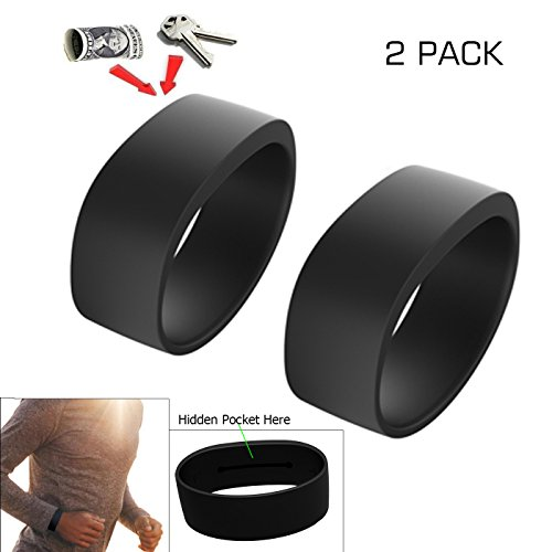 ANQUEUE new Colorful 100% Silicone sport pocket bands, silicone invisible pocket bracelet, silicone wristband with pocket(2PCS) (Black(M)+Black(L)) (Wristbands Thick Silicone)