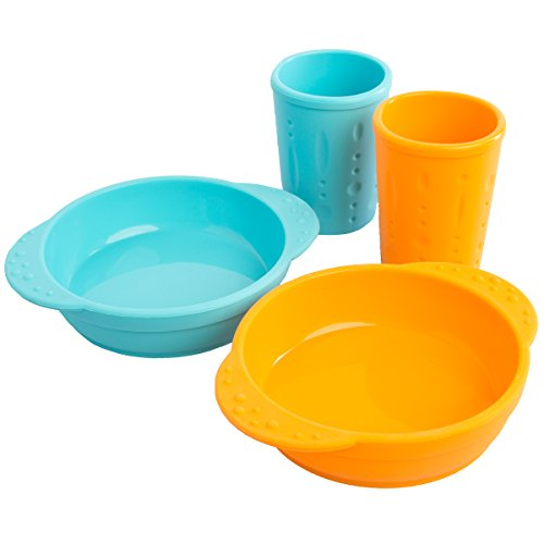 Kinderville (4 Piece Set) Toddlers & Kids Cups & Kid Bowls Dishwasher/Microwave Safe BPA-Free Silicone