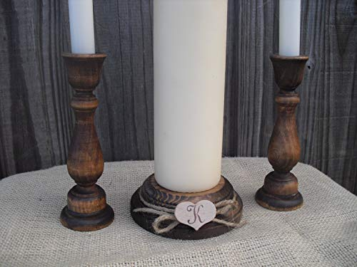 - Monogram Rustic Wood Unity Candle Holder Set - Item 1203