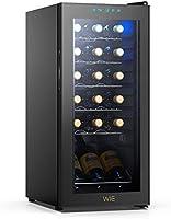 ワインセラー 18本収納 最新 WIE コンプレッサー式 53L 大容量 グラス収納 傾斜置き 紫外線UVカット庫内LED灯付 温度設定 デジタルタッチディスプレイ 横置きも縦置きも両方とも使用可能 1年品質保証 静音式家庭用 業務用