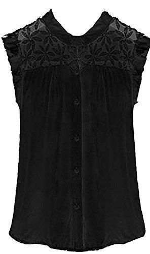Genluna Women Sleeveless Button Vintage Sheer Tops Lace Shirt Chiffon Blouse