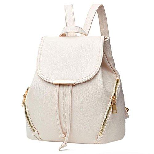 School PU Leather Backpack Shoulder Bag Mini Backpacks Travel Casual Daypack Rucksack,White,United ()