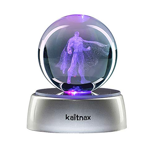 Kaitnax 3D Laser Etched Crystal Ball(50mm) Puzzle with LED Base (Superman)