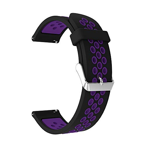 20mm Silicone Bands for Samsung Galaxy Watch 42mm/Gear Sport Watch Band,Quick Release Strap Sports Bracelet for Samsung Gear S2 Classic, Garmin Vivoactive 3, Ticwatch 2/E Smart Watch (Black purple) ()