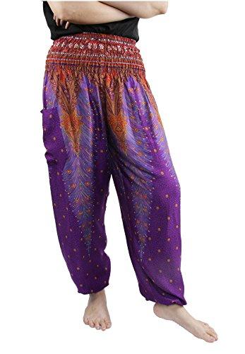 Lofbaz Women's Peacock Print Smocked Waist Harem Pants Purple C S (Pants Purple Harem)