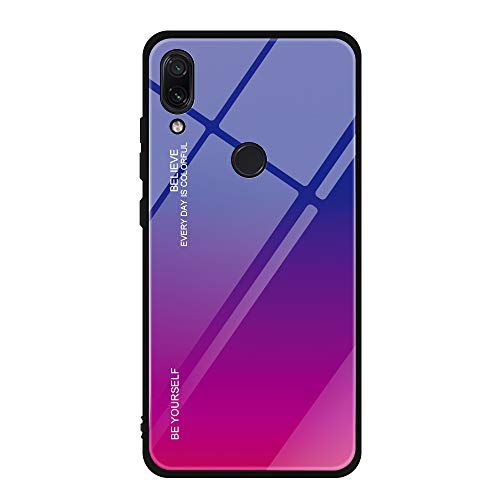 for Xiaomi Redmi Note 7 Case Gradient Color Tempered Glass Back Cover Soft TPU Silicone Anti-Scratch Shockproof Shell (4, Redmi Note 7)