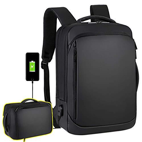 Travel Laptop Backpack, 15.6 Inch Briefcase Convertible Water Resistant Business Travel Rucksack with USB Charging Port Large College School Bookbag Computer Laptop Bag Work Backpack for Men Women (Best Work Backpack Mens)