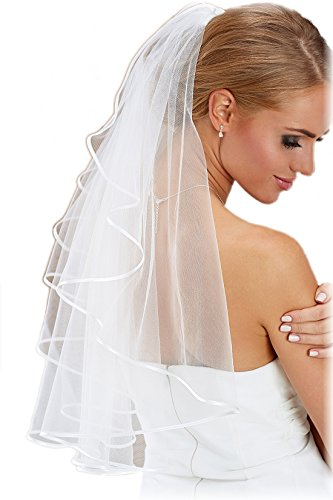 Bridal Veil on Comb 27.5inch Soft Tulle Beautiful Accent Matches Most Wedding Dresses - WHITE