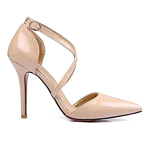 2c7dbe13cd6 50%OFF Sfnld Women s Trendy Pointed Toe Cross Strap High Stiletto Heels  Pumps Shoes Nude