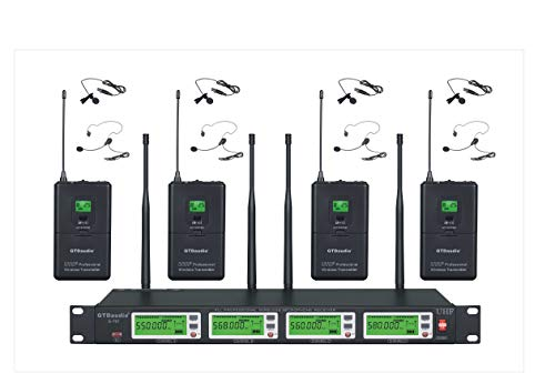 - GTD Audio 4x800 Channel Selectable Frequency UHF Diversity Wireless Lavalier/Lapel/Headset Microphone Mic System 787 (4 Lavaliere Mics)