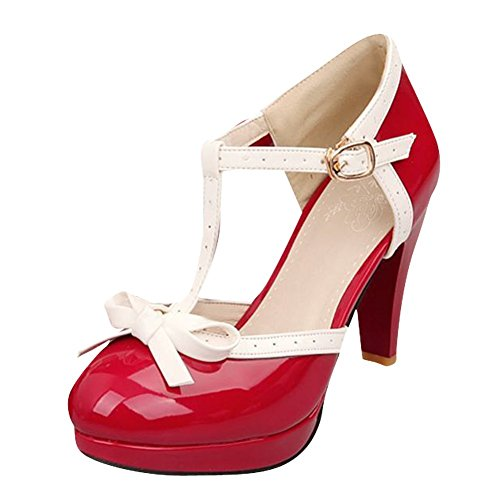 Pumps Mary Janes Heels Party Strap Womens Shoes High T Platform Buckle Agodor Bowtie Cute with Red wxAqp1I8x