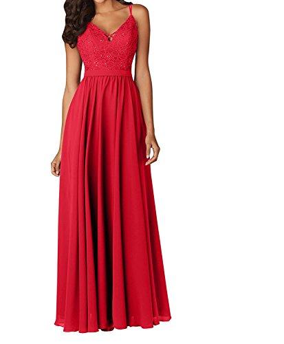 Lang Charmant Abendkleider Partykleider Brautjungfernkleider Damen Traegerkleider Chiffon Rot Spitze Grau 8wSrFq8