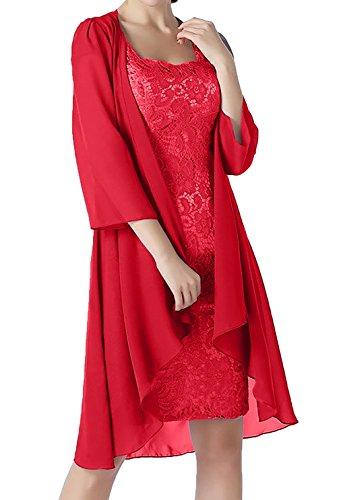 Festlichkleider Rot Brautmutterkleider Ballkleider Lang Lang Damen Charmant Partykleider Abendkleider Jaket Etuikleider mit C60HAxwq