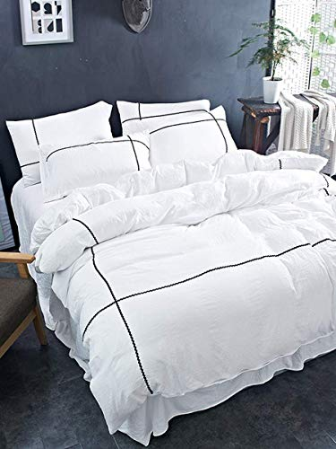 5 Piece Luxe Geo Designer Duvet Cover Set with Zipper & Corner Ties 100% Egyptian Cotton 600 Thread Count (1 Duvet Cover 4 Pillow Shams) (California King/King, White)