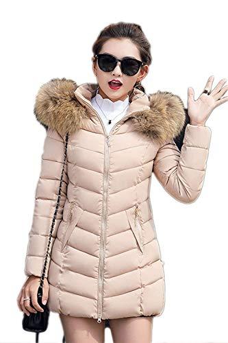 chauds air taille en long pour à veste Khaki Plus jolie Fashion manteaux manteau élégant capuche fourrure Stilt plein Fit avec décontractée Pure d'hiver Manteaux des femmes la Slim RwCOqx
