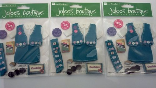 - Her Scouting Girl Scout Uniform and Cookies Dimensional Scrapbook Stickers (SPJB098) Set of 3