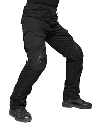 TACVASEN Mens Outdoor Ripstop Paintball BDU Tactical Camo Trousers Airsoft Pants with Knee Pads Black,Medium ()