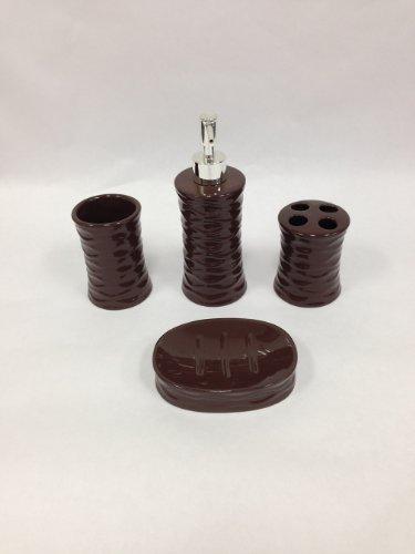 22 piece bath accessory set chocolate brown bathroom rug for Bathroom accessories qatar