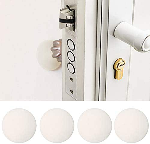 Fine Wall Protector for Door Handle (4 Pack),Door Stopper Wall Protector,Rubber Self-Adhesive Wall Protector for Door Knobs,Furniture,Bed,Table,Chair,Glass,etc.