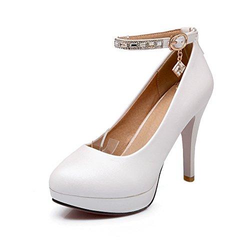 Balamasa Donna Cinturino Alla Caviglia Con Borchie In Metallo Con Fibbie In Metallo Imitato Pumps-shoes In Pelle Bianca