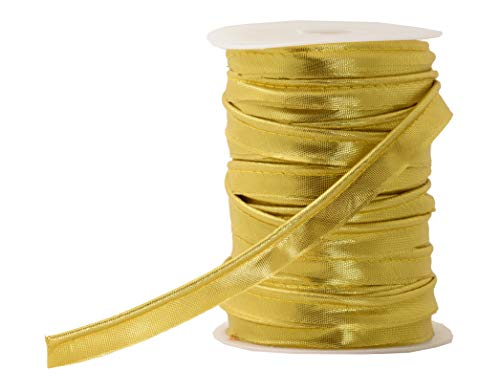 Mandala Crafts Maxi Piping Trim, Double Fold Bias Tape, Welting Cord from Cotton Polyester for Sewing, Trimming, Upholstery (Metallic Gold, 2.5mm 0.5 inch 55 Yards)