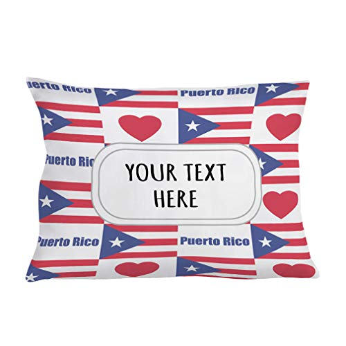 Style In Print Personalized Pillow Case Puerto Rico Flag Heart Polyester Pillow Cover 20INx28IN Custom Text Here One Pillowcase