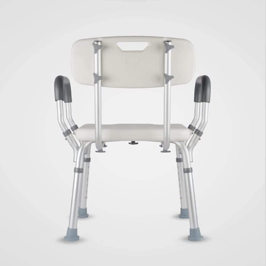 DJDL Cuarto de baño Taburete Silla de baño de aleación de Aluminio hándicap Ayudar Altura Dispositivo Ajustable, Ancianos/Banco/baño Adaptado con Respaldo y Mango,Silver