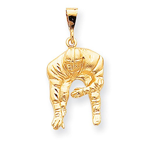 10K Yellow Gold Football Player Charm Pendant