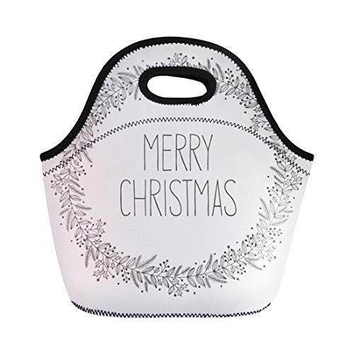 - Semtomn Lunch Bags Winter Holly Christmas Wreath Doodle Drawing Holiday Botanical Berries Neoprene Lunch Bag Lunchbox Tote Bag Portable Picnic Bag Cooler Bag