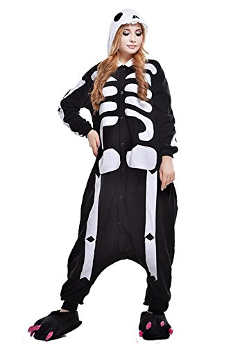[Unisex Pajamas Skeleton Adult Onesies Costume Large] (Dragon Ball Costume With Tail)