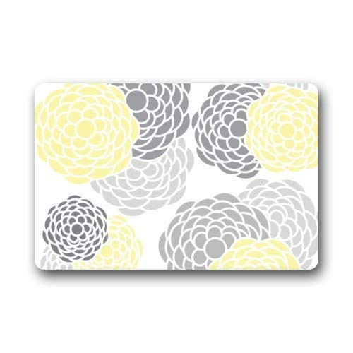 (Etuwdie Flower Gray Yellow Doormat Door Mat Rug Indoor/Outdoor/Floor Mat Rug for Home/Office/Bedroom 23.6