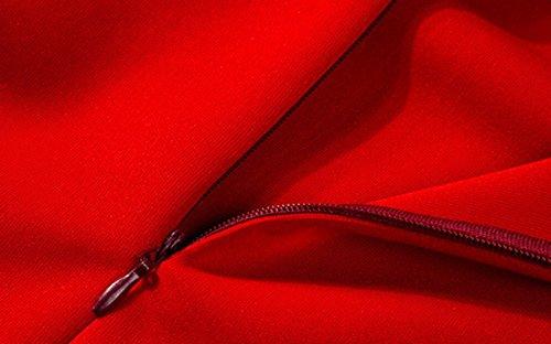 Da Eleganti Vestito Donna Matita Bodycon Midi Festa Unico Cocktail Fox Abiti Tubino Vestiti Rosso Di Solido Abito Partito Estivo Sexy Volant A Fräulein Colore Irregolare Monospalla 2EDIYH9W