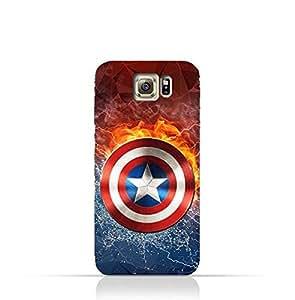 Samung Galaxy S6 Edge TPU Silicone Protective Case with Shield of Captain America Design