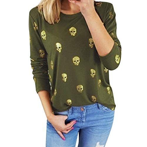 HULKAY Halloween Women Tops Sale Clearance Fashion Round Neck Long Sleeve Skull Printed Shirt Sweater Blouse Coats(Green,S) for $<!--$7.62-->