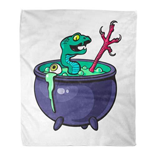 Golee Throw Blanket Halloween Witches Cauldron Green Potion Serpent Eye Bird Leg Cartoon 50x60 Inches Warm Fuzzy Soft Blanket for Bed Sofa