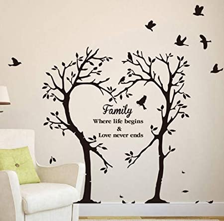 Cmmo Famille Amour Coeur Arbre Sticker Mural Mode Amour