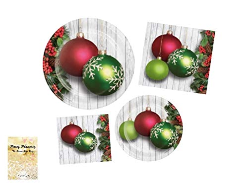 Christmas Party Supply Pack! - Opulent Ornaments Design - Disposable Dinnerware - 16 Guests - Includes Dinner Plates, Dessert Plates and Napkins