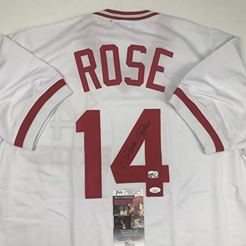 - Autographed/Signed Pete Rose Cincinnati White Hit King Baseball Jersey JSA COA