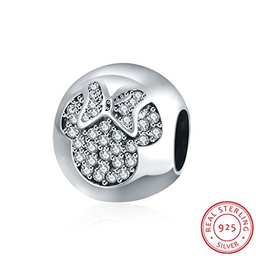 HMILYDYK 925 Sterling Silver Bead Charms with Cubic Zirconia Mickey Crystal fits Pandora Bracelets Charm