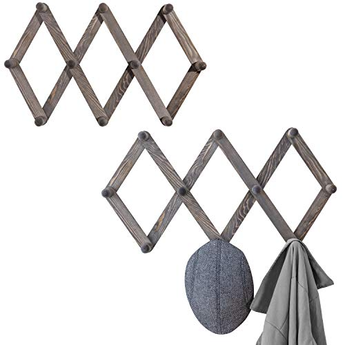 - MyGift Set of 2 Wall-Mounted Rustic Gray Wood Expandable Accordian 10-Peg Coat Rack