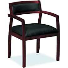 HON Topflight Wood Guest Chair -  Leather Seated Guest Chair with Arms, Office Furniture, Mahogany Finish (VL852)