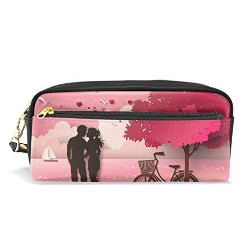 ne's Day Romantic Couple Pink Landscape Pencil Case Pen Bag Stationery Pouch Purse Cosmetic Makeup Bag Zipper for Girls Boys Kids ()