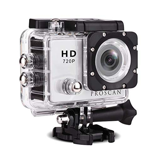 """Proscan Action Camera Underwater Waterproof 30M Camera with 2"""" LCD Wide Angle View 720P HD Sports Action Camera (Renewed)"""