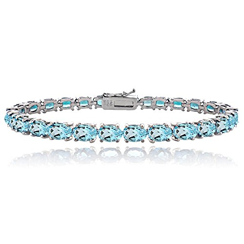 Sterling Silver Swiss Blue Topaz 6x4mm Oval Tennis Bracelet by Ice Gems