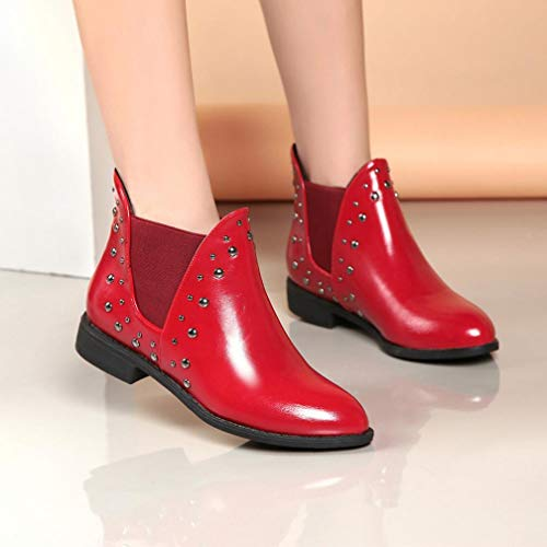 Warm Boots Keep Leather Boots Red Shoes Casual Flat Ankle Rivets FALAIDUO Martin Women Boot wvq7AA