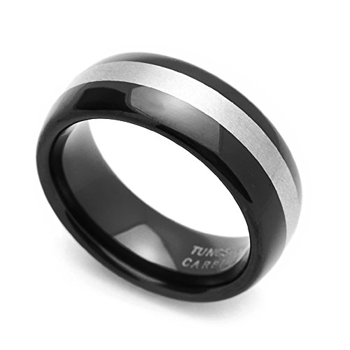 (Double Accent 8MM Comfort Fit Tungsten Carbide Wedding Band Brushed Stripe Domed Ring (7 to 14), 14)